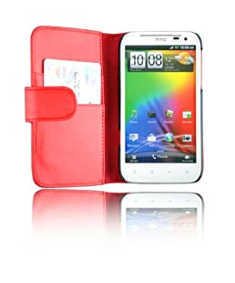 New High Quality Red Wallet Leather Case for HTC Sensation XL with Card Holder + Free Screen Protector