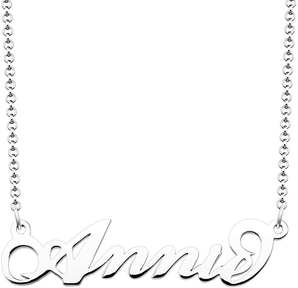 Moonlight Collections Annie Necklace Name Plate Necklace Design Your Own Gift for Girlfriend 10k Rose Gold Plated