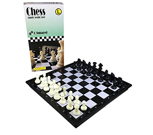 C-Squared Magnetic Chess Set | Small Portable Game for Travel with Magnet Pieces | Educational Game for Adults and Kids | Free Checkers Set Included Plastic | 9.5'' x 9.5'' Folding Board by C-Squared