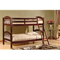 Kings Brand B125C Wood Arched Design Convertible Bunk Bed, Twin, Cherry Finish
