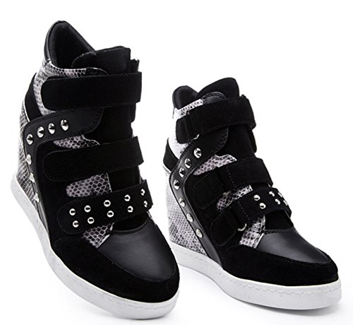 D2c Beauté Femmes Daim Sneaked Haut Haut Lacet Up Velcro Wedge Synthétique Sneakers Noir