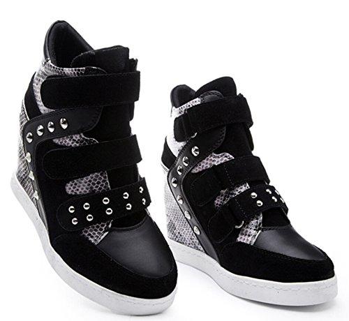 D2c Beauty Womens Snake Suede Skinned Hoge Top Vetersluiting Velcro Wedge Synthetische Sneakers Zwart