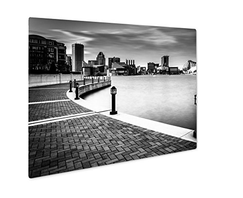 Ashley Giclee Metal Panel Print, Long Exposure Of The Skyline And Waterfront Promenade In Baltimore Maryland, 8x10, - Gallery & Harborplace The
