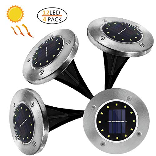 Meckily Solar Ground Lights, 4Pcs Solar Disk Lights with 12 LED Garden Pathway Outdoor in-Ground Lights Waterproof Patio Lights (Warm White) ()