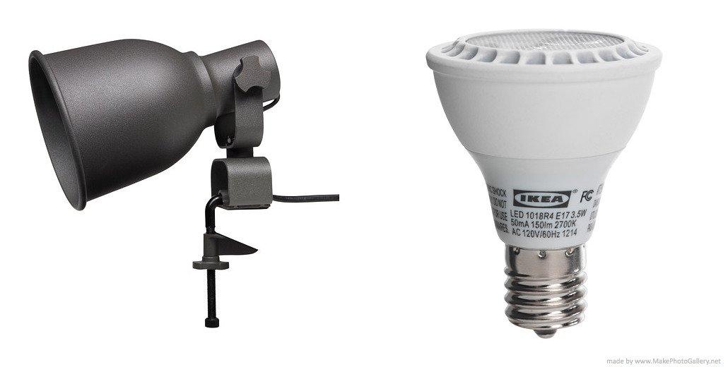 IKEA - HEKTAR Wall/clamp spotlight and LEDARE LED bulb E17 reflector R14