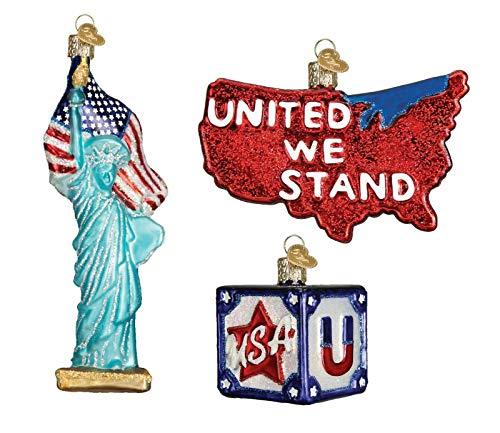 Old World Christmas USA Statue of Liberty Set of 3 Glass Ornaments Patriotic Americana ()
