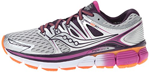 Pictures of Saucony Women's Triumph ISO Running Shoe Silver/Purple/Orange 5