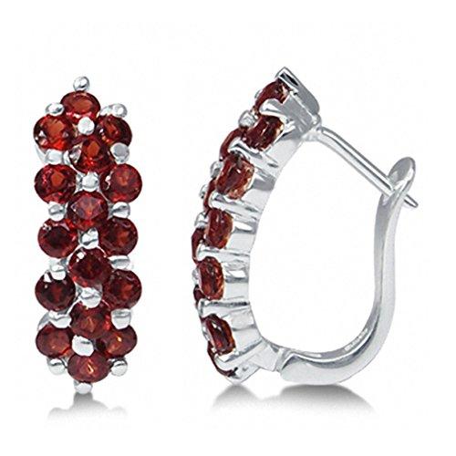 (2.88ct. Natural Garnet 925 Sterling Silver Cluster Huggies Earrings)
