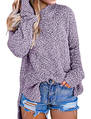 MEROKEETY Women's Long Sleeve Sherpa Fleece Knit Sweater Side Slit Pullover Outwears Grey Purple