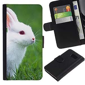 Samsung Galaxy S6 / SM-G920 , la tarjeta de Crédito Slots PU Funda de cuero Monedero caso cubierta de piel ( Rabbit Cute White Blue Eyes Grass Nature)