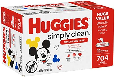 51XJ672CZnL. AC Huggies Simply Clean Unscented Baby Wipes, 11 Flip Lid Packs (704 Wipes Total)    Huggies Simply Clean Fragrance Free Baby Wipes deliver the perfect combination of convenience and versatility. Perfect for sensitive baby bottoms, as well as wiping hands, faces and surfaces for toddlers & children. Simply Clean unscented baby wipes are a great solution wherever you go, whether it's around the house, at the playground or in the car. Because Kids Outgrow Diapers, Not Messes. Simply Clean Wipes are hypoallergenic, dermatologically tested & pH-balanced to help maintain healthy skin. They're also fragrance free, alcohol free, paraben free and do not contain phenoxyethanol or MIT. Huggies Simply Clean Wipes are available in a variety of package options, perfect for use at home and on the go: flip lid packs, refill packs, reusable nursery tub and the stylish Clutch 'N' Clean refillable travel pouch. You can also choose between Fragrance Free and Fresh Scent varieties. Don't get caught without Huggies wipes! Sign up for Subscribe & Save to ensure you always have Huggies Simply Clean Wipes on hand. Join Huggies Rewards+ Powered by Fetch to get rewarded fast. Earn points on Huggies diapers and wipes, in addition to thousands of other products to redeem for hundreds of gift cards. Download the Fetch Rewards app to get started today!