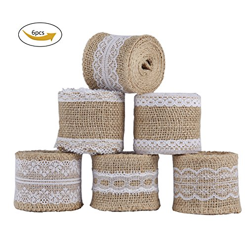 Homemade Christmas Crafts (Burlap Ribbon Roll Natural Jute with White Lace Trims, Burlap Fabric for Arts Crafts Homemade DIY Projects Gift Wrapping Christmas Decorations 79 inches Long, 6 Packs)