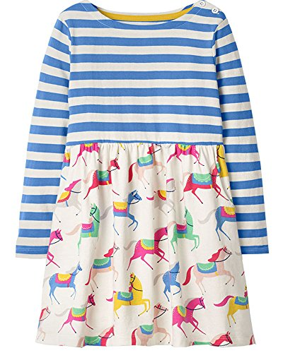 Bumeex Baby Girls Cute Cotton Long Sleeve Tunic Dresses Blue Stripe with Horse Print 2t