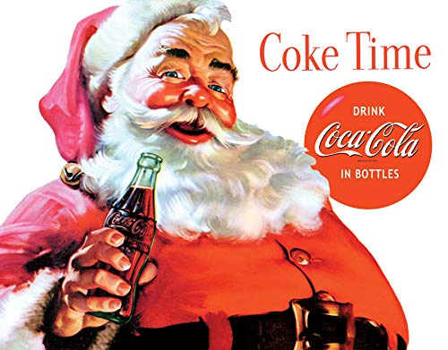 Desperate Enterprises Vintage Christmas Coca-Cola - Santa Claus - Coke Time Tin Sign, 16
