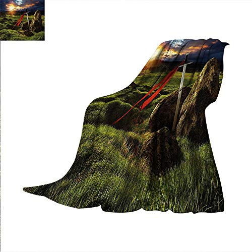 King Throw Blanket Arthur Camelot Mythology Warm Microfiber All Season Blanket for Bed or Couch 60