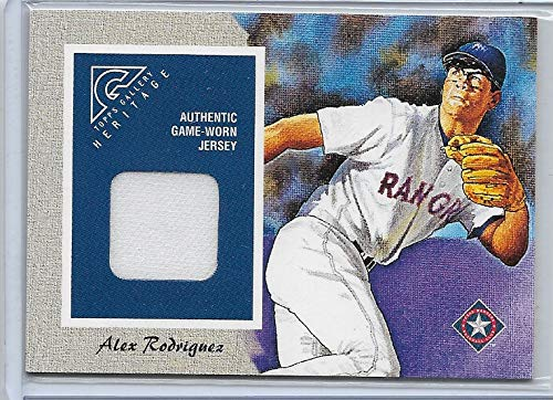 (2002 Topps Gallery Baseball Alex Rodriguez Game Worn Jersey Card # GHR-AR)