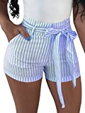 BEAGIMEG Women's High Waist Stripe Casual Shorts with Pockets Belt Light Blue