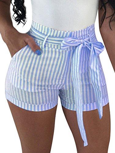 BEAGIMEG Women's High Waist Stripe Casual Shorts with Pockets Belt Light Blue (Waist Short Stripe)