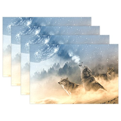 WIHVE Wolf Starry Sky Tree Table Mat Rectangle Polyester Washable Insulation Non-slip Kitchen Placemat Set of 4