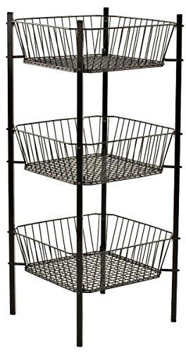 (3-Tier Mobile Impulse Bin with 3 Tapered Baskets, Wire Dump Bin for Floor Displays, Steel (Black) )