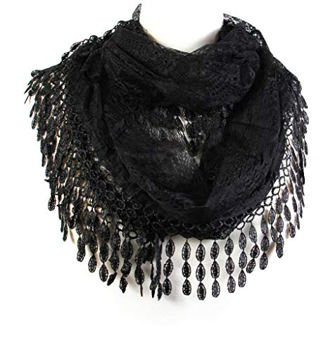 Scarfand's Delicate Lace Infinity Scarf with Teardrop Fringes -