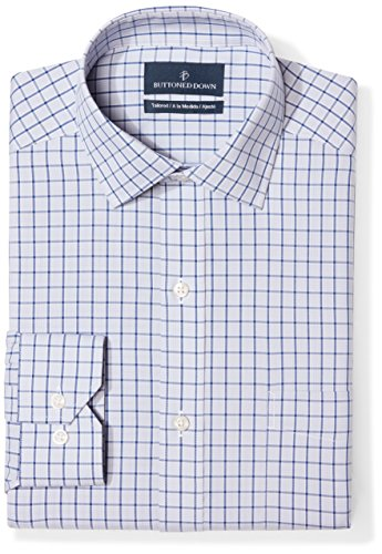 (BUTTONED DOWN Men's Tailored Fit Spread-Collar Pattern Non-Iron Dress Shirt, Grey/Blue Windowpane Check, 18