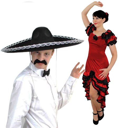 SPANISH MARIARCHI & SALSA DANCER FANCY DRESS COSTUMES