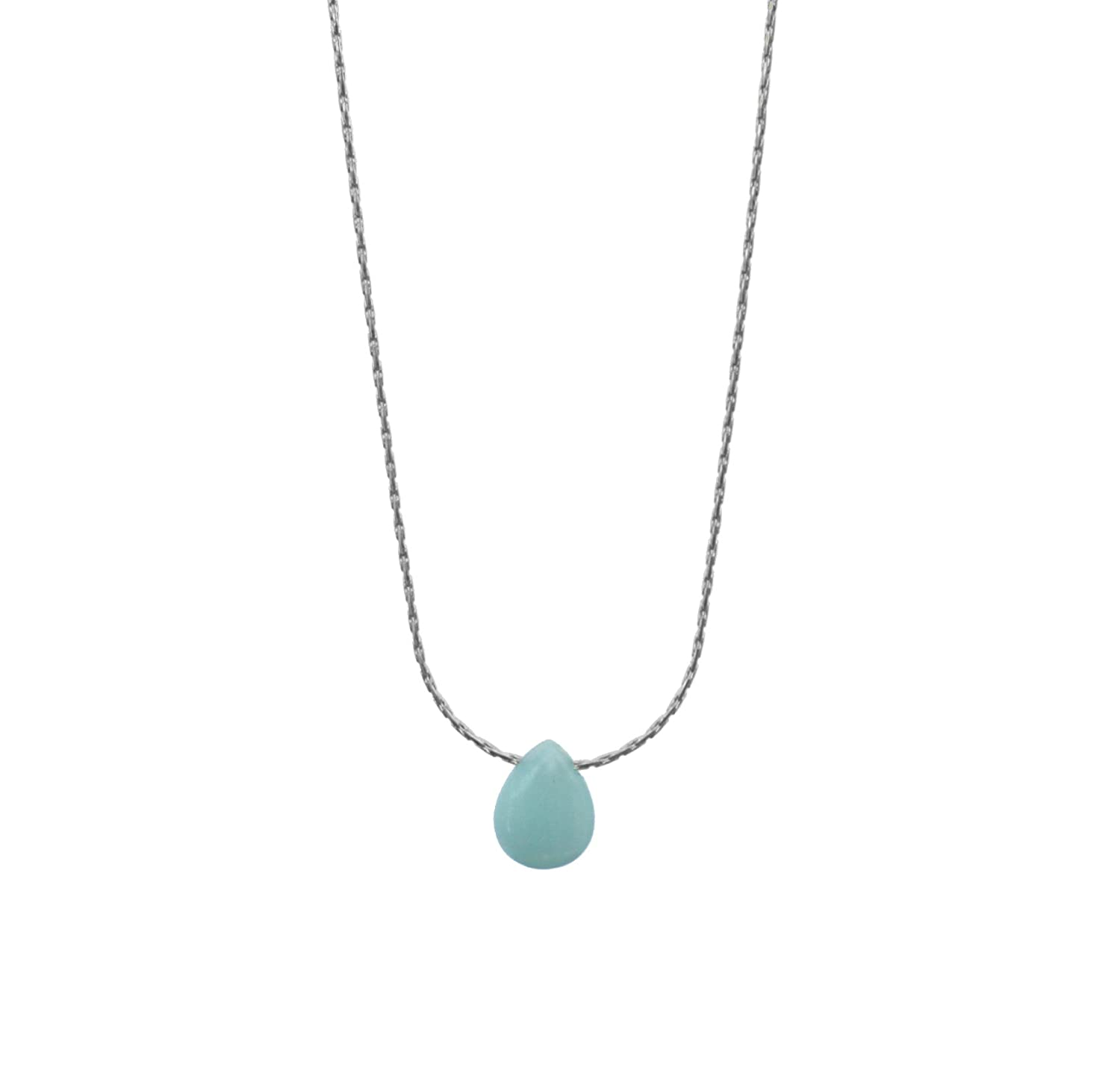 delicate jewelry Blue jade necklace silver plated birth stone Handmade in California gemstones minimalist