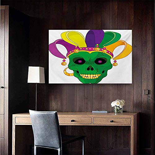 duommhome Mardi Gras Chinese Classical Oil Painting Scary Looking Green Skull Mask with Carnival Hat Beads and Earring Cartoon Style for Living Room Bedroom Hallway Office 47