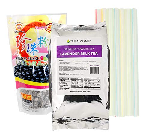 Boba Bubble Tea Lavender Milk Tea Kit with 1 Tea Zone Instant Lavender Milk Tea, 1 Black WuFuYuan Tapioca Pearls and 10 Boba Wide Straws Individually Wrapped