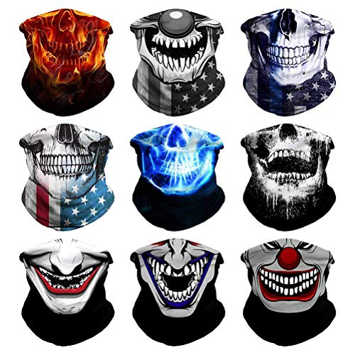 VCZUIUC Headband Clown Face Mask Joker Bandanas, Multi Functional Skeleton Headwear Balaclava Scarf for Outdoor Sports Skiing Running(9PCS Skull-A)
