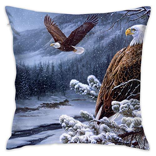 Crazy Popo Wild Bald Eagles Decorative Throw Pillow Covers/Euro Sham/Cushion Sham Square Cushion Case Pillowcases for Living Room Sofa Bedroom Car 18 X 18 Inch 45 X 45 cm