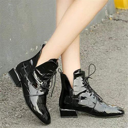 de Paint PU bajo Eu 'S SED Casuales 38 Zapatos Ups Botas Retro Lace Mujeres tacón Boots Wn4wxwPqzS