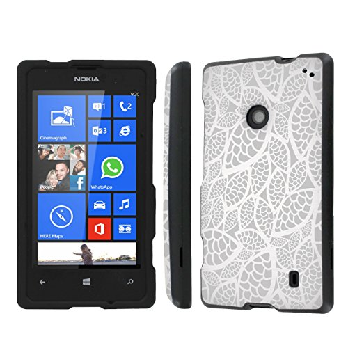 NakedShield Nokia Lumia 635 (Silver Leaves) Total Hard Armor Protection LifeStyle Phone Case