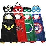 Zaleny Superhero Kids Dress up Costumes 4 Satin Capes 4 Felt Masks Super Hero Themed Party Supplies