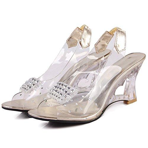COOLCEPT Women Fashion Slip On Sandals Open Toe Wedge Heel Slingback Shoes Gold qljBZgZSRw