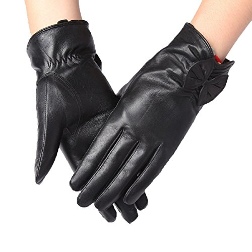 HOMEE Short Section Thick Warm Bowknot Gloves Ride is Not Afraid of Cold,Black,X-Large