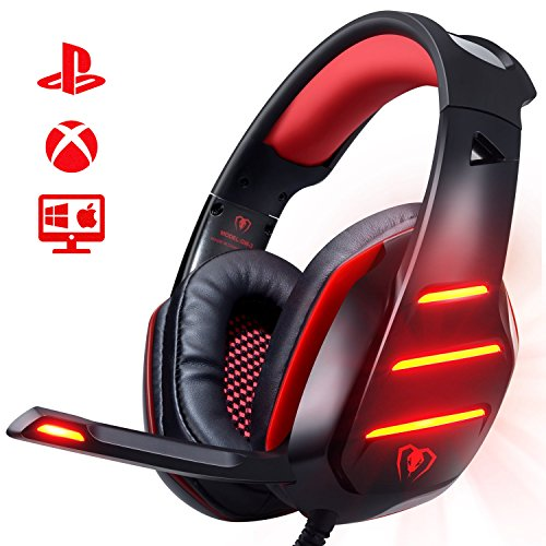 [Upgrade] PS4 Xbox Gaming Headset, Yocuby Gaming Headphones GM3 Noise Reduction Wired Over-Ear Headphone With Mic LED Light Volume Control Ergonomic Earmuffs Design Splitter For PC Tablet Cellphone