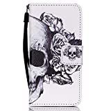 iPod Touch 6 Case,Love Sound [Skull] [Kickstand Feature] [Wallet Function] Premium PU Leather Folio Wallet Case Flip Case Cover for Apple iPod Touch Generation 5/Touch 6 with Hand Strap