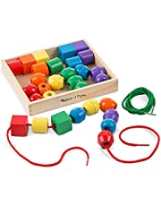 Melissa & Doug Primary Lacing Beads - Educational Toy With 8 Wooden Beads and 2 Laces
