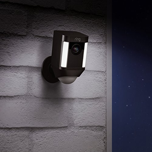 Certified Refurbished Ring Spotlight Cam Wired: Plugged-in HD security camera with built-in spotlights, two-way talk and a siren alarm, Black, Works with Alexa