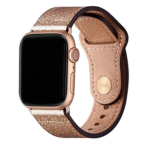 LOVLEOP Bands Compatible with Apple Watch Band 40mm 38mm 44mm 42mm, Top Grain Leather Strap for iWatch Series 4 Series 3 Series 2 Series 1 (Glittering Rose Gold+Rose Gold Connector, -