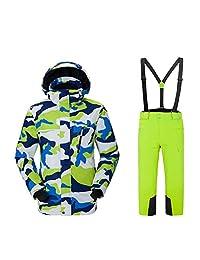 Preself Ski Jacket Pants Snowsuit Boys Snowboard Set Water Resistant,4-12 Y