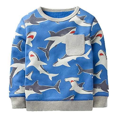 (KIDSALON Little Boys' Cotton Crewneck Long Sleeve Cartoon T-Shirt (3T,Sharks))