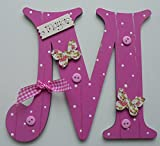 Personalised '*ANY LETTER with any name available*' Butterfly Childs Kids Bedroom Name Plaque Sign Door Plate (CERISE)