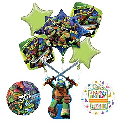 Mayflower Products Teenage Mutant Ninja Turtles Birthday Party Supplies TMNT Leonardo Balloon Bouquet Decorations: Toys & Games