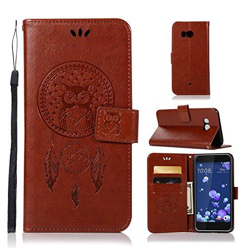 ARSUE HTC U11 Case, Shock Absorbing 3D Handmade Soft Flip Folio [Kickstand Feature] PU Leather Wallet Owl Dreamcatcher Case with ID&Credit Card Pockets for HTC U 11 (2017),Brown