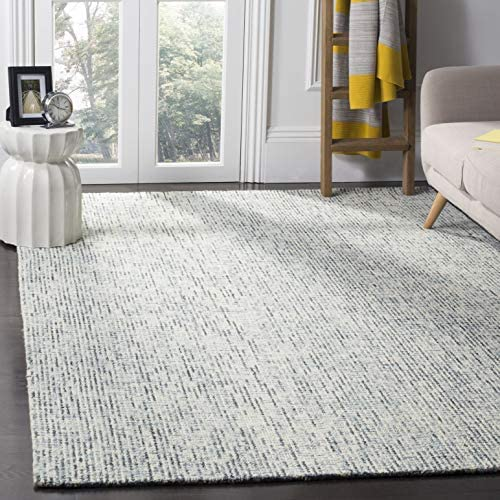 Safavieh Abstract Collection ABT468B Contemporary Handmade Blue and Charcoal Premium Wool Area Rug 8' x 10'