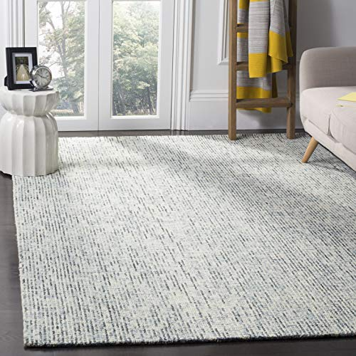 Safavieh Abstract Collection ABT468B Contemporary Handmade Blue and Charcoal Premium Wool Area Rug 6 x 9