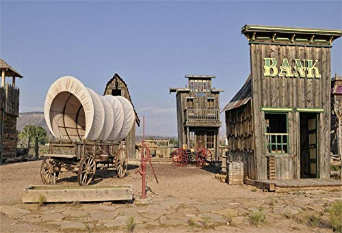 OFILA Western Bank Backdrop 7x5ft Wild West Photography Background Cowboy Theme Events Decoration Wagon Prairie Watering Hydrant Kids Adult Cowboy Theme Party Cowgirl Photos Vintage Saloon Shoot Props]()